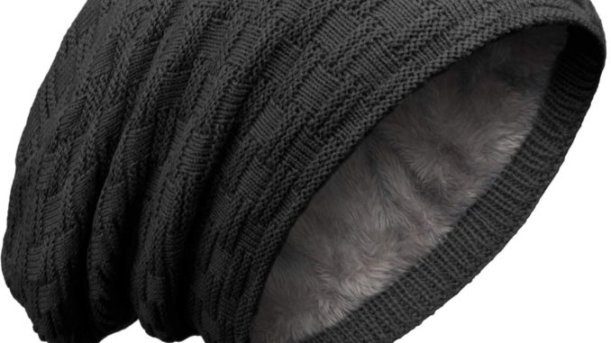 Grin&Bear Long Slouch Beanie Grobstrick Teddyfleece M10